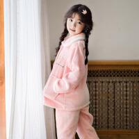 儿童睡衣女秋冬法兰绒女孩宝宝公主套装冬季女童珊瑚绒家居服