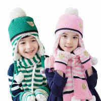 韩国KK树儿童帽子围巾手套三件套男童女童围脖加厚保暖套装学生冬