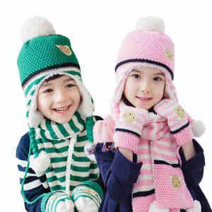【1件9折 2件8折】韩国KK树儿童帽子围巾手套三件套男童女童围脖加厚保暖套装学生冬