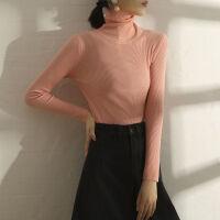 毛衣女打底衫女学生韩版宽松冬高领套头秋季上衣针织衫女薄款 均码 (建议体重70-130斤)