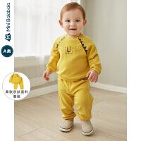 【限时1件6折 2件5折】迷你巴拉巴拉婴儿卫衣套装男宝宝插肩袖两件套2019秋新款印花套装