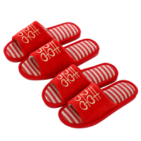 结婚拖鞋 新婚拖鞋情侣家居结婚创意红色夏季室内中式婚礼用夏天地板软