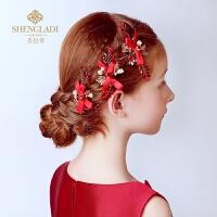 儿童头饰公主发饰韩式女孩礼服头饰发卡红色发夹演出花童头饰