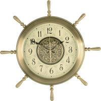 地中海舵轮石英钟壁挂美式复古挂钟客厅大号欧式办公装饰时钟表 26英寸
