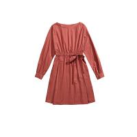 [5折优惠价:159]伊芙丽圆领高腰显瘦A字中长款连衣裙