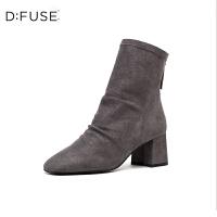 DFUSE/迪芙斯2019秋冬新款方头皱面粗高跟后拉链短靴DF93116902