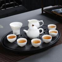 家用陶瓷茶盘大号家用白瓷功夫茶具圆形双层储水式茶托干泡茶盘