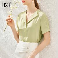 【超品叠券预估价:121】OSA气质OL职业衬衫女设计感小众衬衣夏季2020年新款短袖正装上衣