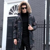 2019冬季新款连帽带毛领男士迷彩羽绒服加厚外套