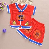 儿童唐装男童套装夏季宝宝中国风复古棉麻汉服潮薄款1-2-3岁婴儿