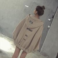 秋冬季韩版连帽加厚加绒中长款卫衣学生外套女拉链宽松蝙蝠袖