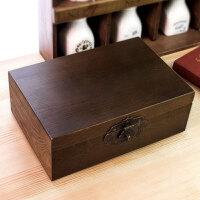 木质老木盒子带锁做旧收纳盒复古大木箱子小木箱家居家装收纳用品整理盒子储物盒置物