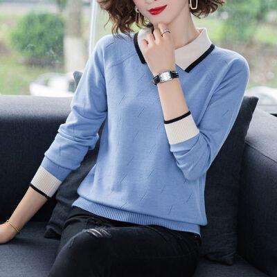 羊毛衫女2019秋冬韩版时尚宽松洋气外穿翻领针织打底毛衣薄款 0381