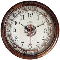 创意实木静音挂钟表美式欧式复古新中式镂空石英钟大壁钟客厅612 612Y 柞木 灰栗色 16英寸(直径40.5厘米)