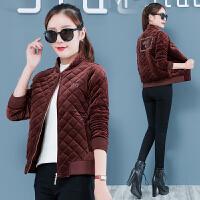 金丝绒棉衣女冬季新款韩版时尚短款加厚女士轻薄小棉袄外套潮