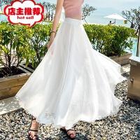 实拍14色新款雪纺半身长裙女夏纯色大摆裙度假沙滩长裙仙女裙