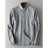春季衬衫男士长袖纯棉休闲衬衣服青年纯色大码宽松商务外套
