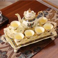 欧式茶具套装英式下午红茶杯茶壶陶瓷咖啡杯套装家用带托盘 8件