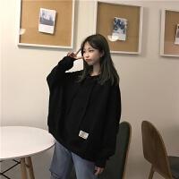 大码女装200斤卫衣外套女学生韩版潮宽松薄款春秋装冬季加绒上衣 510黑 不加绒 M 80-130斤