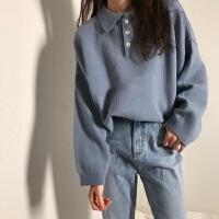 秋冬学院风毛衣女学生韩版宽松纯色显瘦翻领长袖针织衫外套潮 S