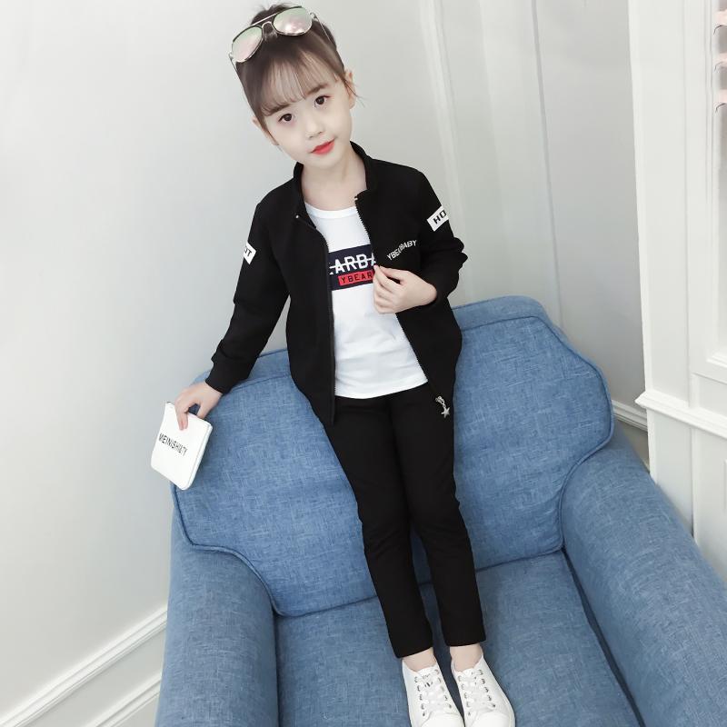 女童套装运动服秋装2018新款女宝宝洋气春秋中大童时髦儿童三件套