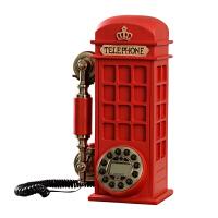 复古座机电话时尚创意个性电话亭欧式家用新款美式仿古固定电话机 有线按键款(免提+来显+重播) 桌面壁挂两用