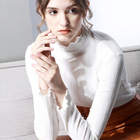 木耳边亮丝半高领打底衫2018秋冬针织大码内搭长袖上衣女加绒小衫 白色 半高领