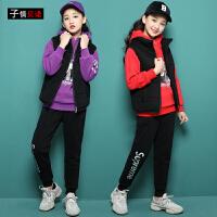 女童三件套秋冬装2018新款加厚卫衣洋气女大童套装12-15岁韩版潮