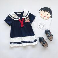 童装夏季新款女童海军风短袖连衣裙卡通公主裙宝宝学院洋气童裙子 深蓝色