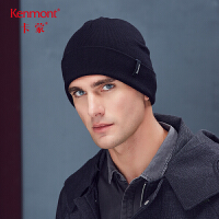 卡蒙纯色帽子男冬天韩版毛线帽双层针织加厚护耳套头帽情侣款冷帽 9299