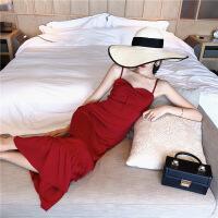 沙滩裙海边度假裙韩国超仙泰国裙子女吊带红色连衣裙夏天海滩群裙 红色