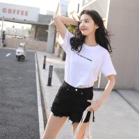 白色小字母T恤女短袖2019新款夏装百搭宽松棉体恤打底衫上衣