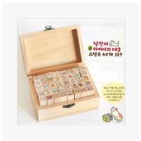 韩国文具toto可爱木盒印章卡通兔子女孩 个性DIY日记印章 创意印章可爱日记印章 木质鼓励印章 木盒卡通儿童奖励小印