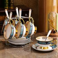骨瓷咖啡杯套装欧式家用陶瓷下午茶茶具咖啡杯碟套具整套6件套 蓝色6杯碟
