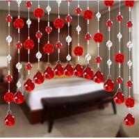 门帘 水晶珠帘 玫瑰花隔断门帘装饰帘屏风过道客厅卧室挂帘卫生间免打孔