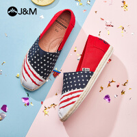 jm快乐玛丽布鞋2021夏季新款一脚蹬平底休闲透气懒人帆布鞋女