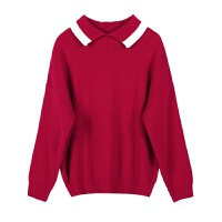 毛衣女秋冬季新款韩版翻领外穿套头学生甜美宽松长袖针织衫打底衫 均码