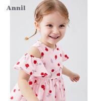 【2件5折:149.5】安奈儿童装女小童连衣裙露肩袖2020夏季新款印花甜美时尚宝宝裙子