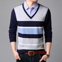 春秋季男士长袖T恤韩版修身假两件打底衫中老年衬衫领棉体恤男潮