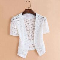 蕾丝小披肩女2018夏季外披短款镂空开衫修身上衣薄外套外搭空调衫