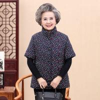 中老年女冬季棉马甲妈妈装保暖半袖棉衣短袖坎肩加厚上衣大码外套 XL (99斤以下)