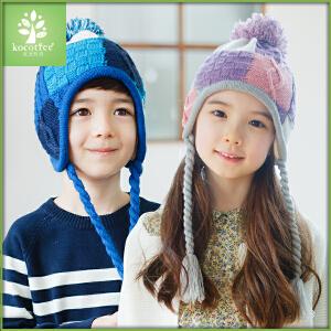 kocotree儿童冬天帽子小孩帽子男童女童保暖毛线套头帽2-4-8岁潮