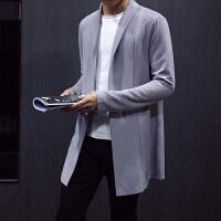 2018新款针织开衫风衣男士中长款外套翻领毛衣青年韩版修身春秋装