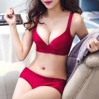 【好货推荐】 罗丽丝文胸套装性感本命年红色薄款胸罩小胸聚拢调整型无钢圈女内衣内裤
