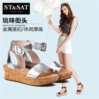 St&Sat/星期六新款商场同款牛皮坡跟女凉鞋SS72115873