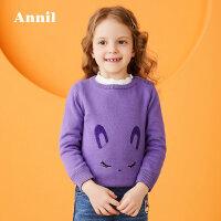 【3件3折:71.7】安奈儿童装女童圆领套头毛衣冬装新款