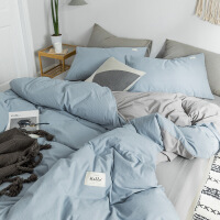 北欧风纯色水洗棉床上四件套纯棉全棉简约床单被罩被套床笠三件套