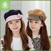 韩国KK树儿童贝雷帽女童女生帽子小孩遮阳帽秋冬季2-8岁鸭舌帽潮
