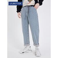 2.5折价:104;Lilbetter男士牛仔裤潮流韩版百搭裤子潮牌条纹日系长裤秋款男裤