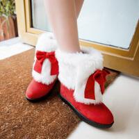 彼艾2016冬季新款甜美保暖毛毛靴磨砂女靴蝴蝶结坡跟短靴内增高平底靴子潮女靴子